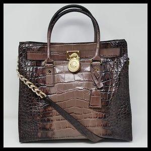 Michael Kors Large NS Hamilton Croc Leather Tote